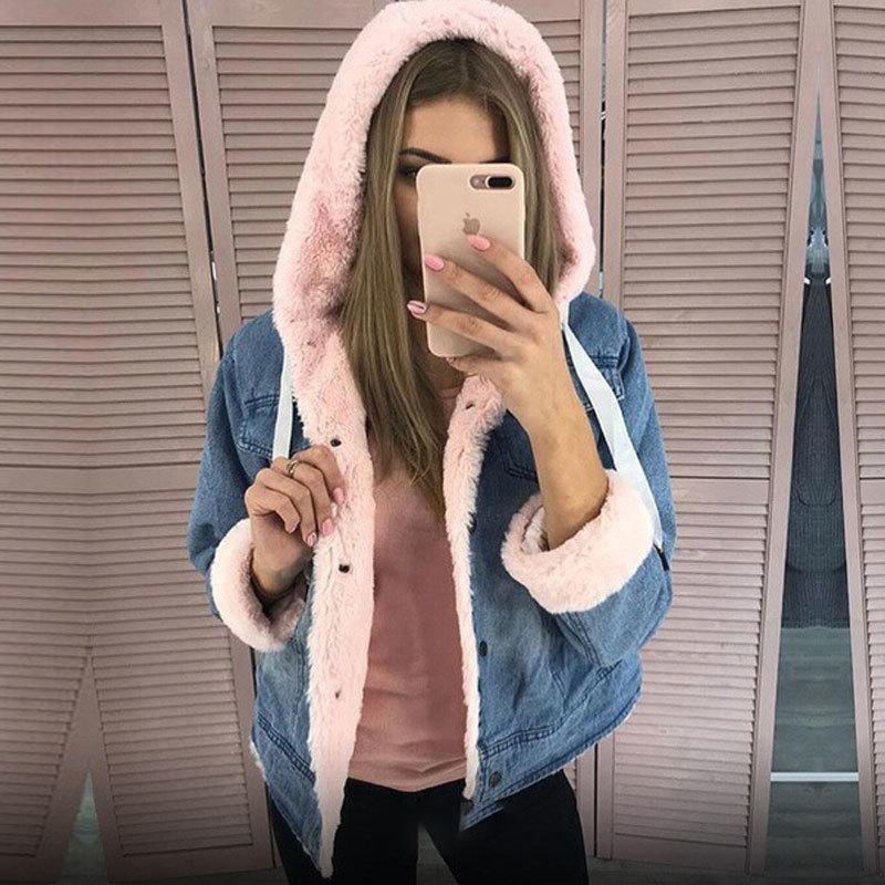 2020 NOUVEAU Velvet épais femmes automne hiver mode de mode veste en jean jason manteau courte chute Y1112
