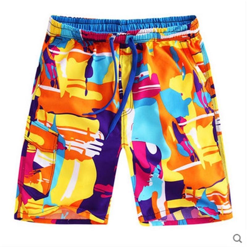 1889 Pantalones de playa Pantalones de verano para hombres 5-Capris Pantalones casuales para hombre Tendencia Verano suelto impresión rápida de secado