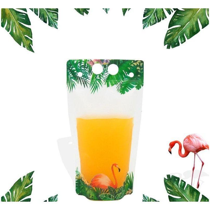 500 мл Фламинго фруктовый рисунок пластиковый напиток упаковочный мешок для напитка сок молочный кофе, с ручкой и Jllrbh Jhhome