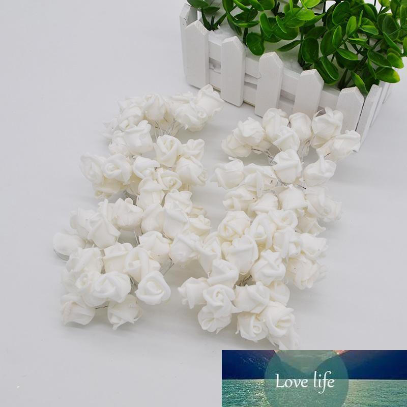 144pcs 2cm Decoração do casamento Bouquet flor de papel artificial Mini Foam Rose Wreath Scrapbooking decorativa Falso Flores 7Z