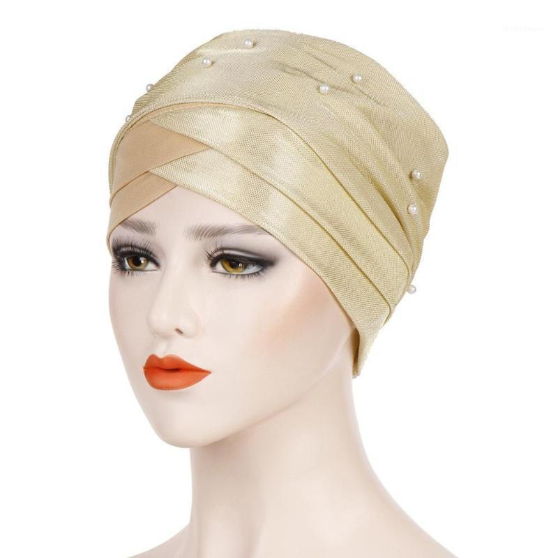 Beanie / Kafatası Kapaklar Moda Müslüman Uzun Türban Şapka Kadın Boncuklu Kafa Wrap Kadın Beanie Saç Bonnet Kapak TB-201