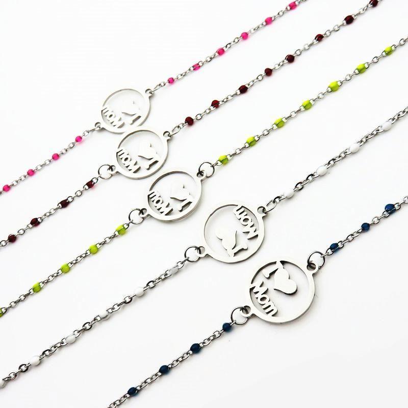 Ссылка, цепь я люблю маму браслет из нержавеющей стали красочные бусины для женщин мода ювелирные изделия