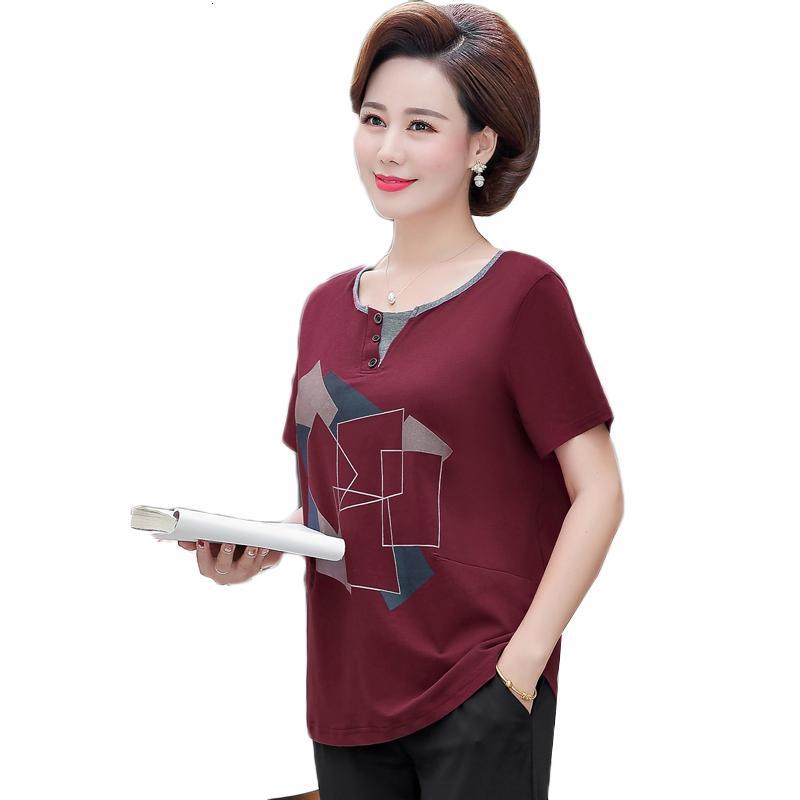 Mujeres de mediana edad Nuevas camisetas de algodón de manga corta floja de manga corta Tamaño de la madre XL-5XL Ropa Madre Casual Tops Z108