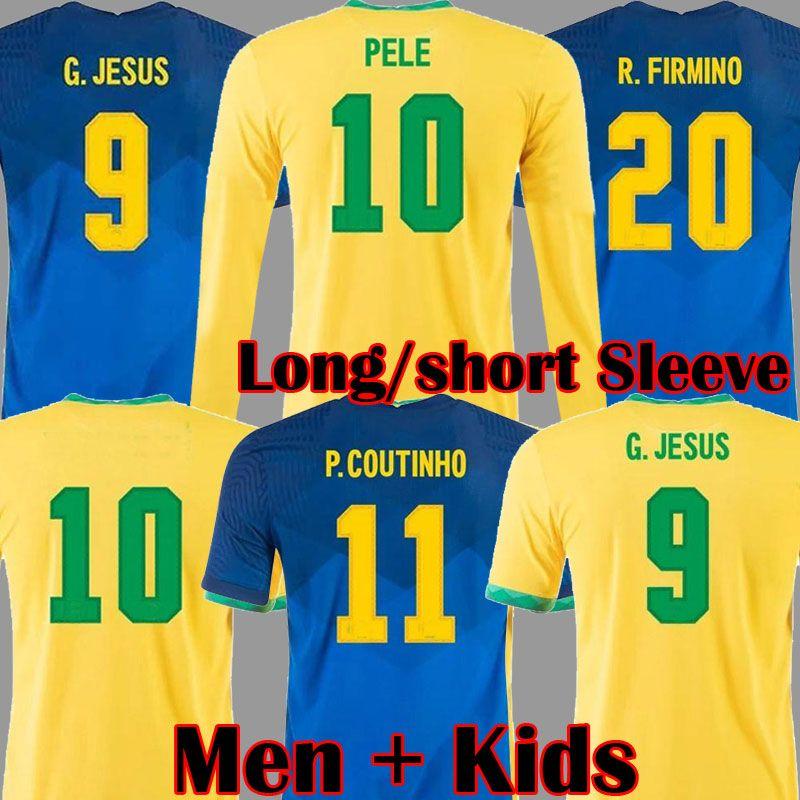 2020 2021 Camiseta de Futbol Paqueta Neres Coutinho Vinicius Jr Camisa de Futebol Firmino Jesus Futebol Jersey Manga Comprida Pelé Maillot de Pé