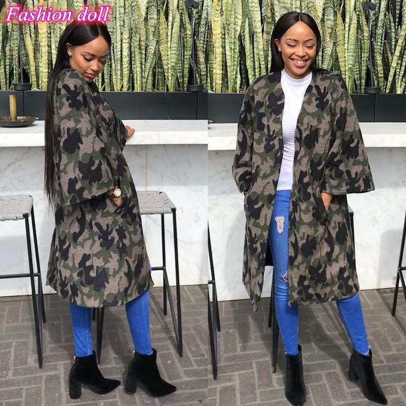 2020 automne hiver femmes en tête de long long imprimé camouflage manches occasionnels camisoles turn-down manteaux de col