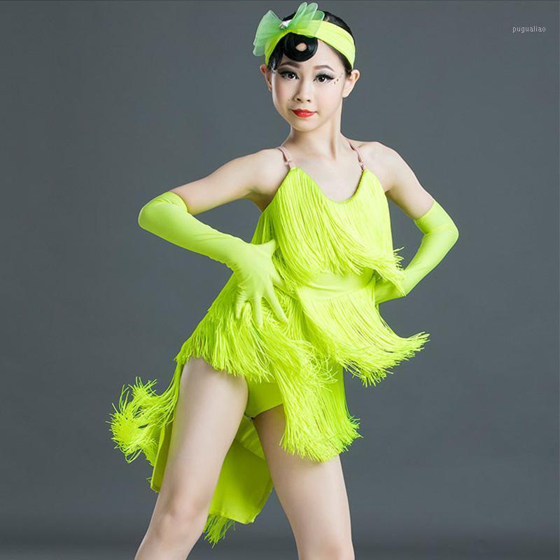 Abiti da ballo latino Girls fluorescente Colore fluorescente Tassel Professional Competition Dresses Tango Rumba CHA CHA SAMBA SALSA Wear DN61511