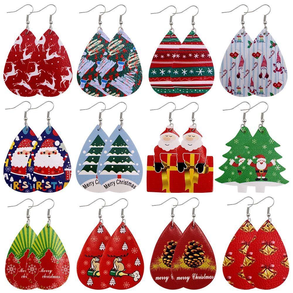 Babbo Natale Stampa in pelle orecchini di Natale per tema Donne di Buon Natale in pelle vegan orecchini di dichiarazione Water Drop Jewelry