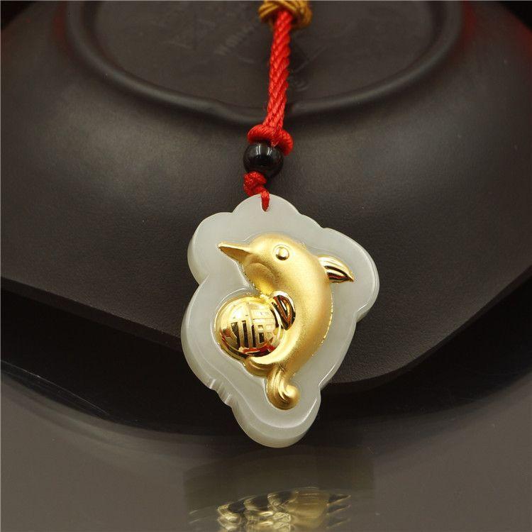 Gold Inlaid Hetian White Dolphin Женское Ожерелье Джейд Подвеска продаст подарки