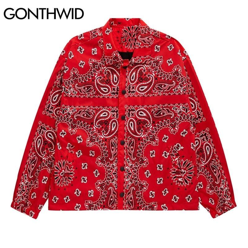 Gonthwid Bandana Paisley Pattern Print Stree Style Winterbreake Куртка Pautts Streetwear Hip Hop Мужские Повседневные Куртки Топы 201114