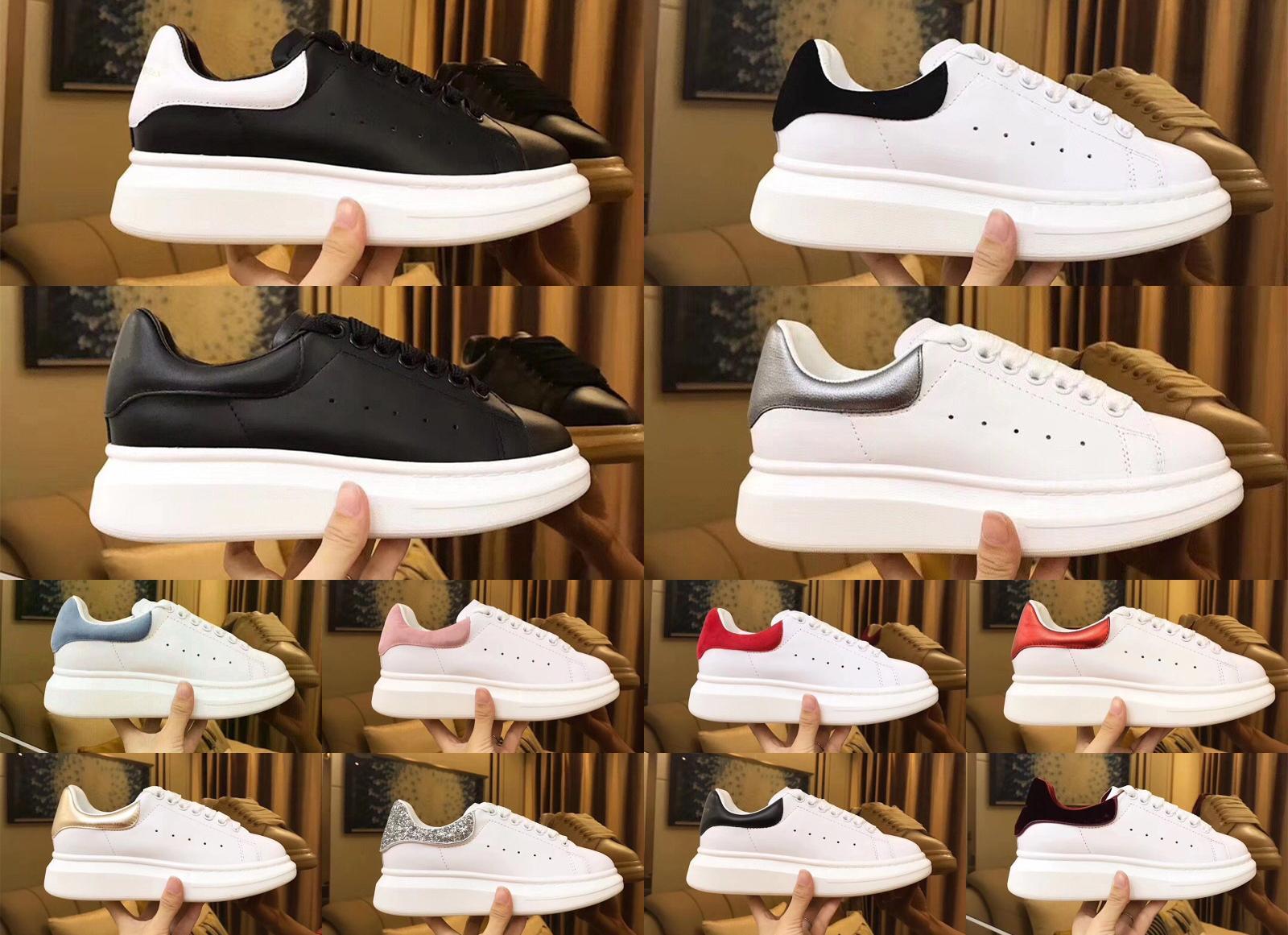McQueen Shoes الكلاسيكية كوينز الأبيض أحذية أسود أبيض وردي ريال جلد الرجال النساء أحذية عارضة الازياء