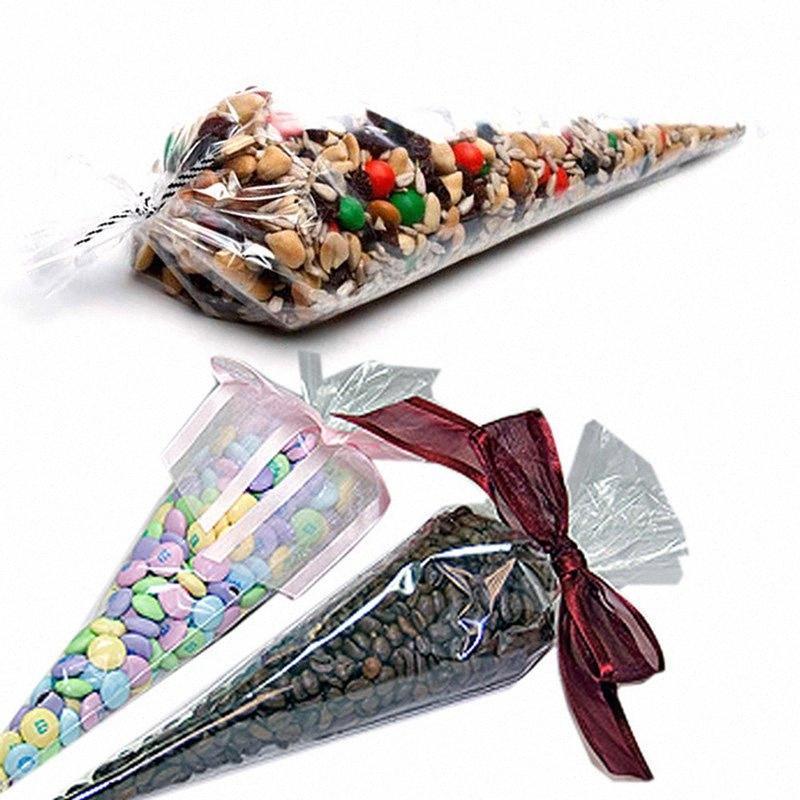 100 pièces transparentes Sacs cadeaux bonbons Paquet Sac Popcorn Wrapper Sac d'emballage fleur de mariage Fête de l'événement de Pâques Favors Sacs 2mFC #