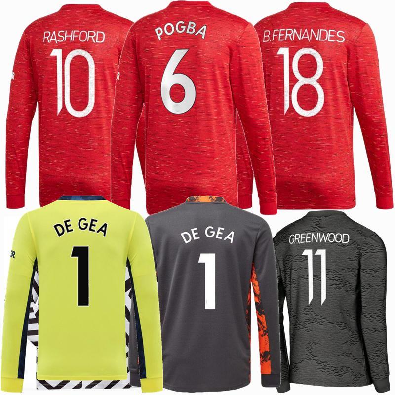 Maniche lunghe Manchester 20 21 B.fernandes Soccer Jerseys Cavani Martial Rashford Fred Camicie da calcio 2020 2021 Van de Beek Greenwood de Gea