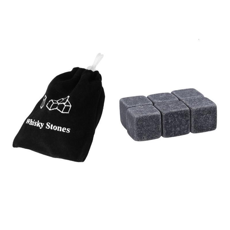 자연 위스키 6pcs / 세트 돌 쿨러 위스키 바위 비누 비누 아이스 큐브 벨벳 스토리지 파우치 2 N29ZU