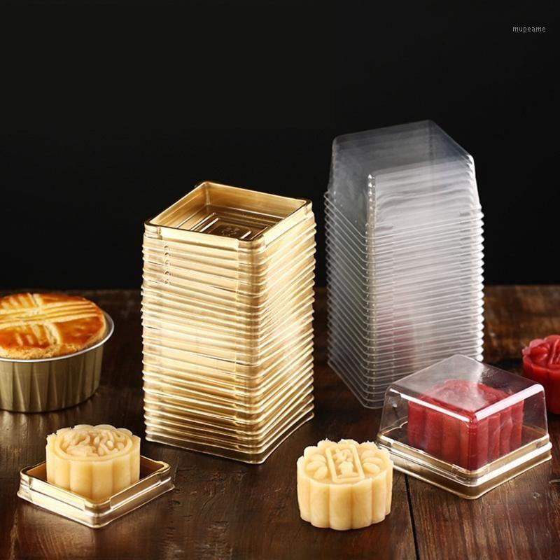 100 stücke (50 satz) Großhandel 50/80 / 100g Mondkuchen Tabletts Mondkuchen Verpackung Boxen Gold Kunststoff Boden Transparente Cover1