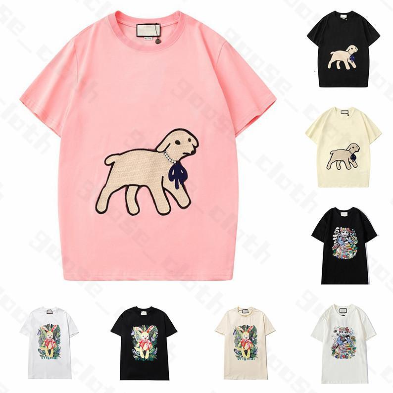21ss nuova delle donne Mens progettista magliette Agnello magliette di stampa della lettera a maniche corte di modo signora Tees Luxe donne casuale abbigliamento;
