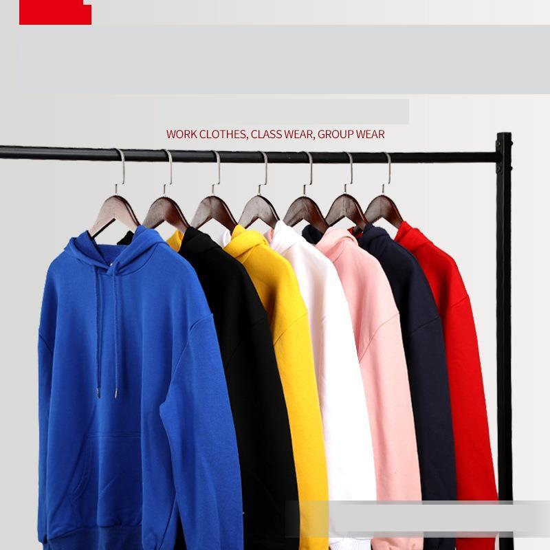 Capa de impressão de suéter capuz roupas casas casal cor sólida algodão em branco Terry
