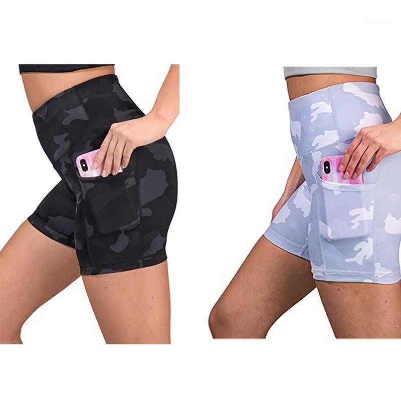 Yoga Outfits Высокая талия Тренажерный зал Леггинсы Шорты Камуфляж Печать Карман Дышащий для Женщин Yoga1