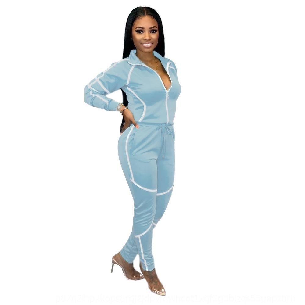 6zsk Button Slim skinny Due con set di patchwork a righe riflettente set 2019 scava fuori donne ritagliare pezzi pezzi pantaloncini tuta