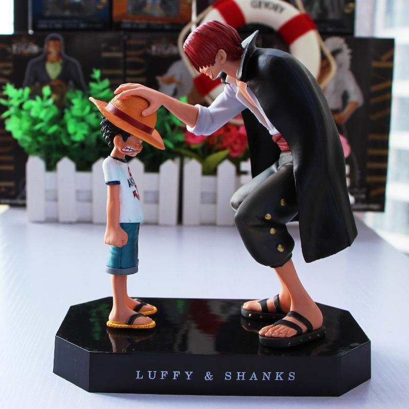 15cm Anime 1008 Mutlu Bebek Koleksiyon Model Oyuncak Figurine Going One Piece Dört İmparatorlar Shanks Hasır Şapka Luffy'nin PVC Action Figure