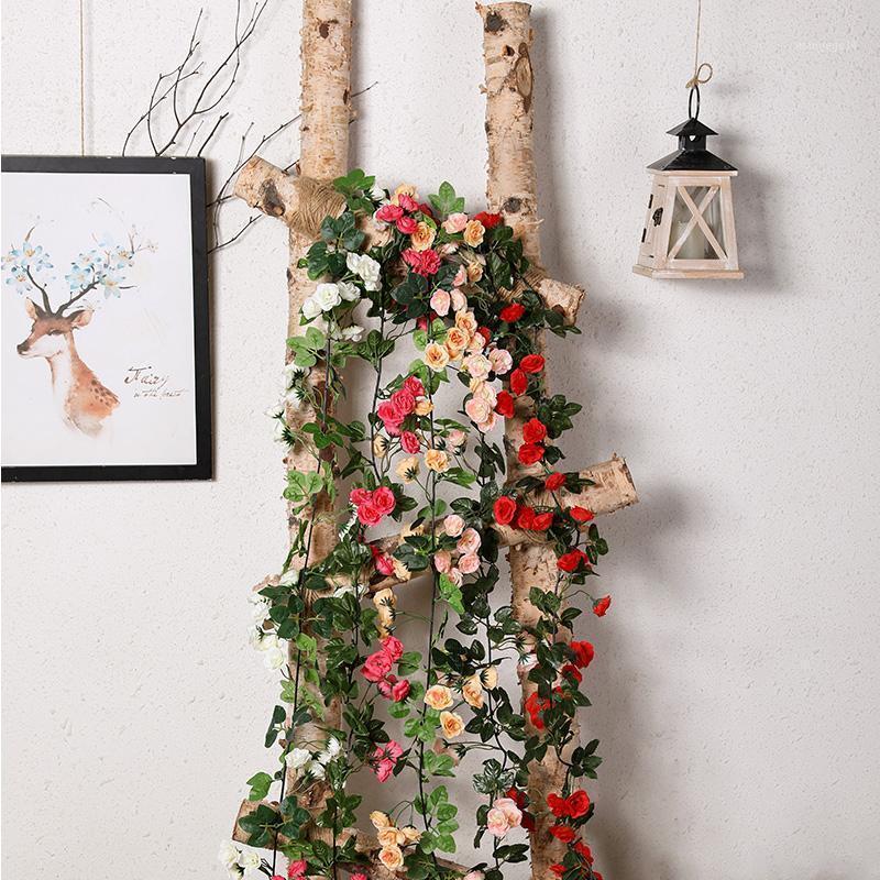 Yumai 170 см 69 головы шелковые розовые виноградные лозы искусственные украшения свадебный декор реальные сенсорные стены висит розы цветы string1
