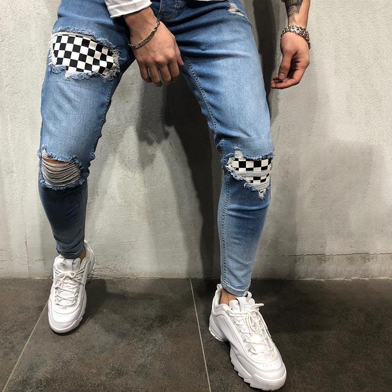 Ünlü Stylist Adam için Kot Pantolon 2021 Ince Streç Yama Erkek Jean Pantolon Sokak Moda Hip Hop Rahat Denim Pantolon