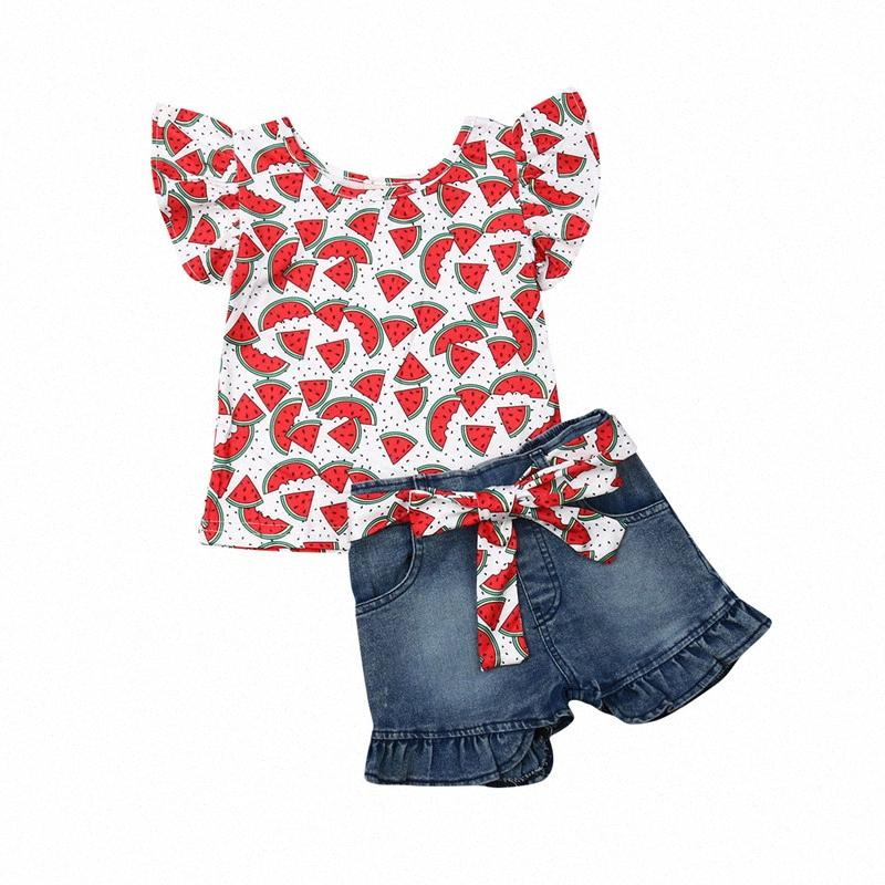 2pcs Vêtements Ensemble En Toddler Bébé Filles Flamingo Imprimer Floral Watermon Volants Tops T-shirt Denim Jeans Shorts Pantalons Enfants Outfits Q9TW #