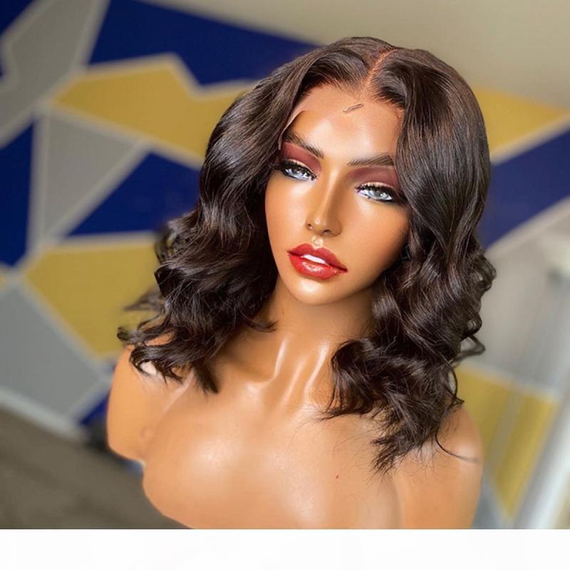 2. Renk 5 * 5 PU İpek Bankası Peruk Dantel Ön İnsan Saç Peruk Derin Dalga Doğal Remy Saç Dantel Peruk İçin Siyah Kadınlar