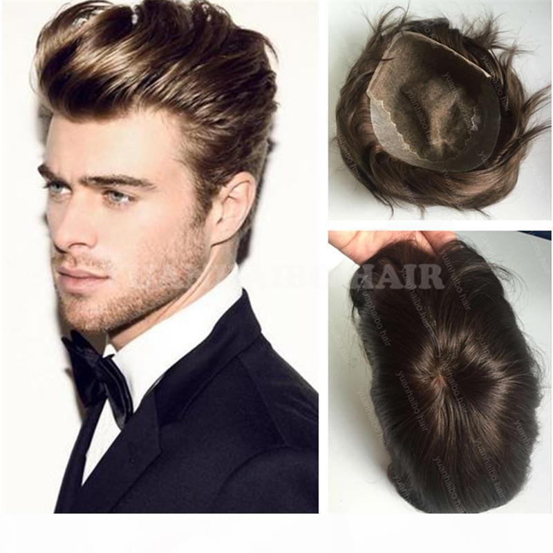 Nueva Moda 6 pulgadas marrón marrón Virgin Indian Hair Straight Pein Q6 Base Toupee para hombres envío gratis