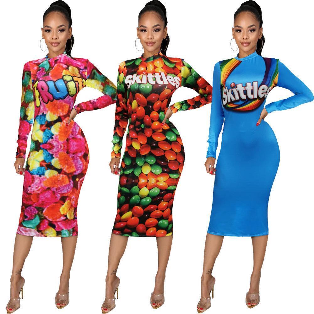 Diseñador mujer vestido sexy delgado caramelo tres color patrón floral estampado un paso falda de un paso señoras nuevos vestidos de moda nueva venta caliente vayak