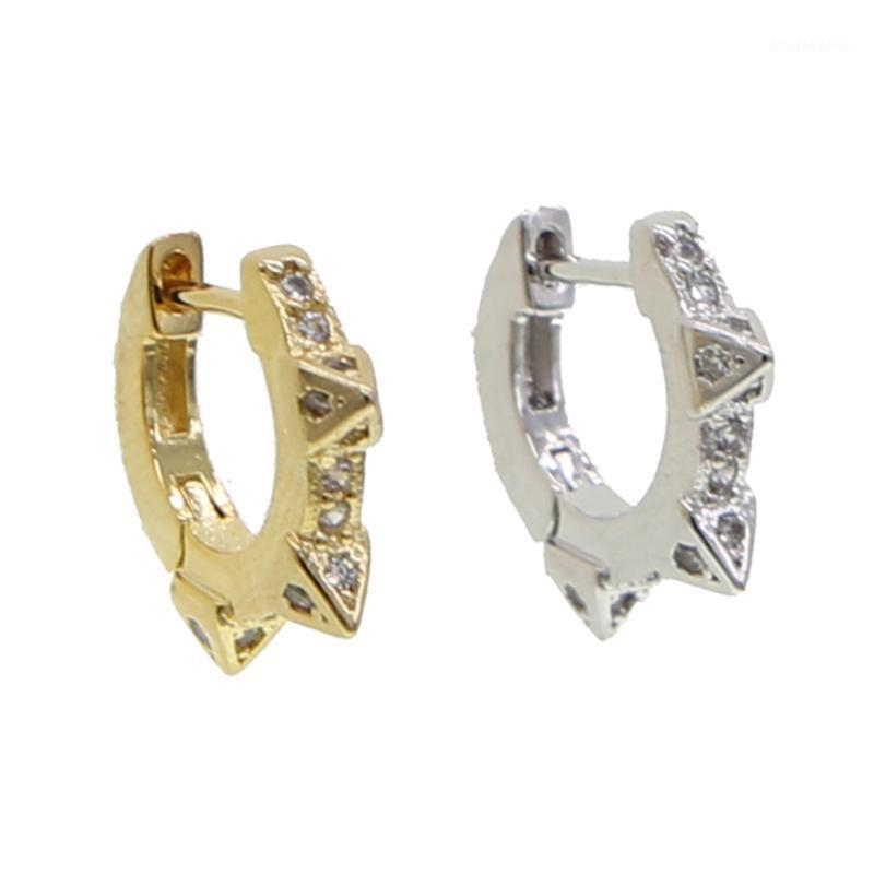 Silber Farbe Triple Spike Huggie Hoop Ohrringe 2021 Design Mini Kleiner Ohrring für Frauen 11