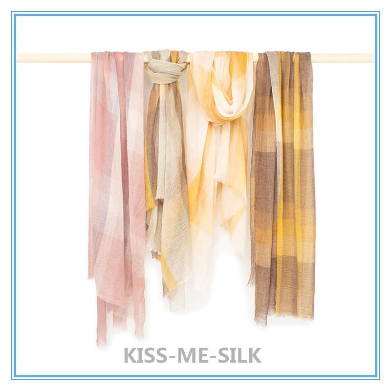 KMS nuovo design a pieghe sciarpa di lana a quadri per la ragazza signora Woman 100 * 200CM / 100G