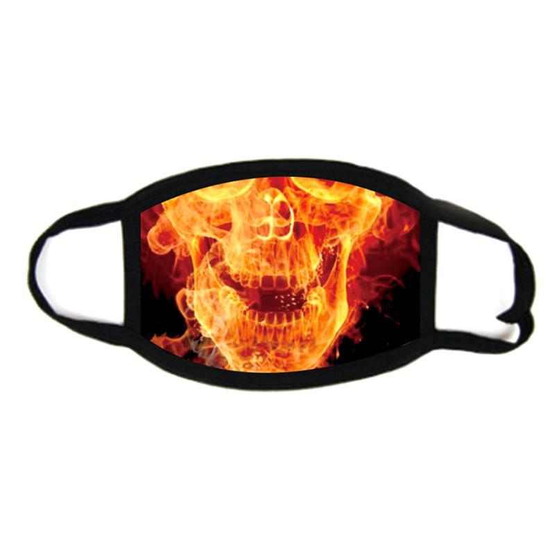 Череп 3D печать дизайнер лица маска для лица хлопок многоразовые лицевые маски вне двери спортивные маски для езды мода хлопчатобумажная праздничная партия маска дизайнерская маска