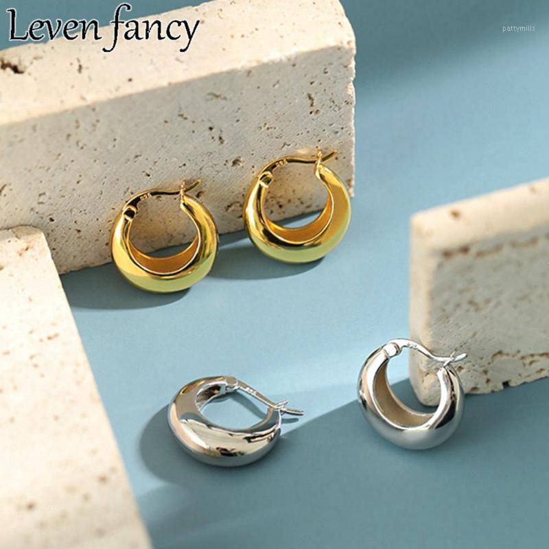 925 Sterling Silber Ohrring Geometrische Schale Runde Hoop Ohrring für Frauen 18 Karat Gold Ohrschnalle Fine Schmuck Korean Geschenk1