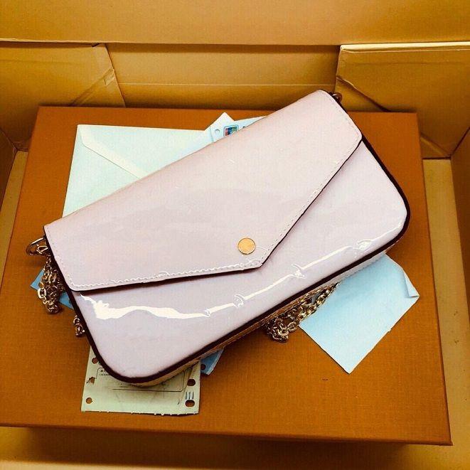 Felicie Pochette مصمم محفظة لامعة مونو تنقش Vernis براءات العجل حقيبة الكتف حقيبة الكتف سلسلة من المغلف القابل القابل للتكيف مع مربع
