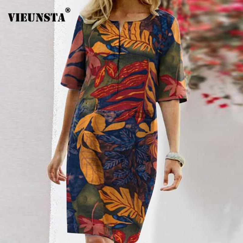 Couleur solide automne coton robe de lin 2020 de printemps boutonnage tenne tenne femme robe femmes robes de poche à manches longues plus taille 5XL x1224