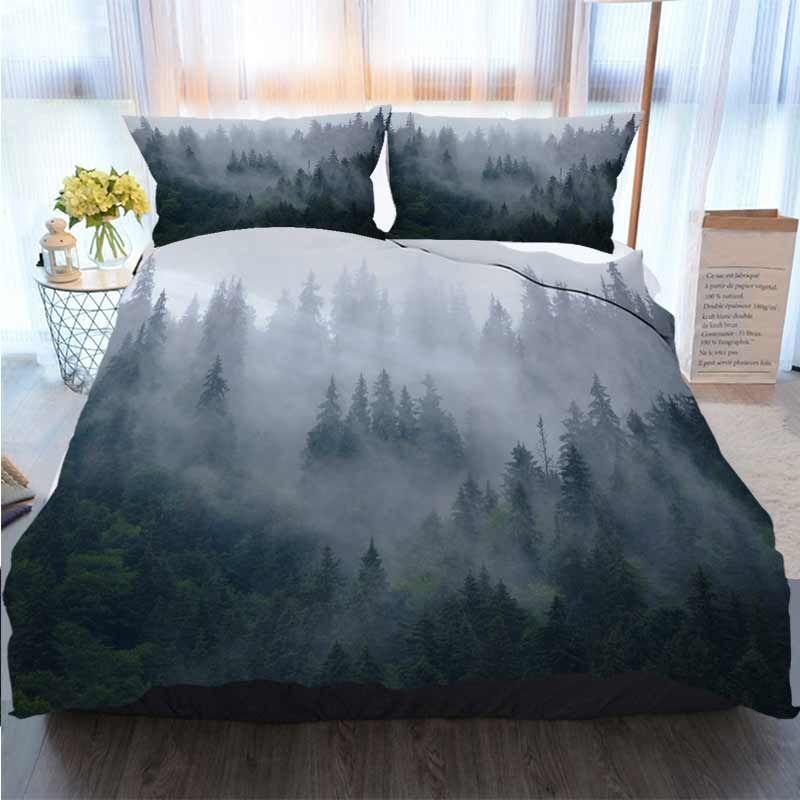 3D-Druck Frohe Weihnachten Bettwäsche Misty Berglandschaft Bettbezug Designer Bed Comforters Sets