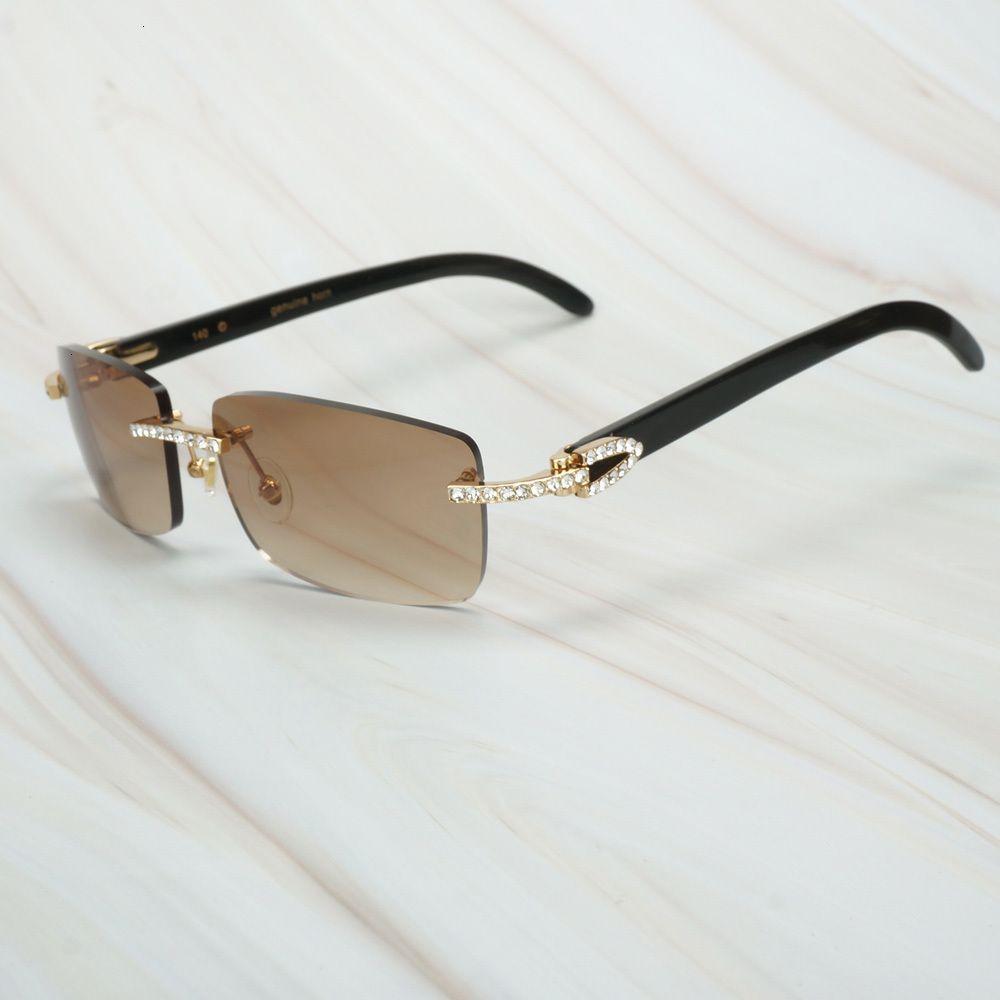 Lujo Gafas HTICP Óculos de Sol Rodada Sol Montura Bfalo Cheater Sin Hombre de Cheap Vintage Disrever Cuerno Mujer Diamantes Para JDFVH