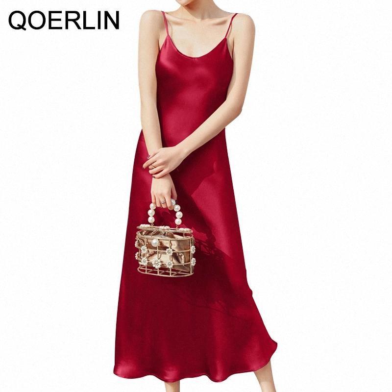 QoerliN Acetate Satin Suspender Strap Dress Women Sexy Sundress Mid-length Long Dresses Female Solid Black Dress Maxi Plus Size #TC5e