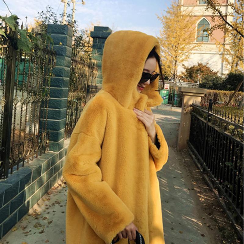 2020 Новый зимний сплошной с капюшоном с капюшоном из искусственных меховых пальто женские утолщенные теплые пиджаки из искусственных меховых куртков женские свободные длинные пальцы