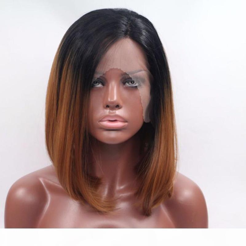 Short Bob Ombre Human Hair Lace Wigs for Black Woman Brazilian Full Lace Wigs with Baby Hair Two Tone Lace Front Bob Wigs with Black Root