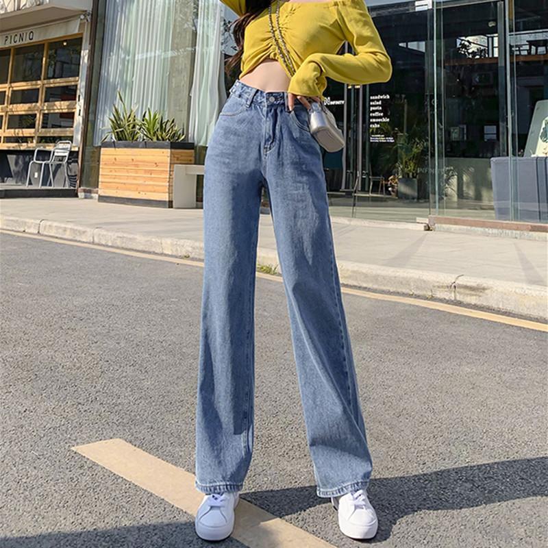 Mulher Jeans altos Roupa cintura larga Leg Denim Roupa azul Streetwear Qualidade Vintage Moda Harajuku Calças retas 200930