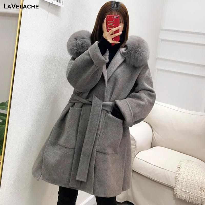 Kadın Kürk Faux Lavelache 2021 Gerçek Ceket Kış Ceket Kadın Gevşek Doğal Yaka Kaşmir Yün Karışımları Giyim Streetwear Büyük Boy