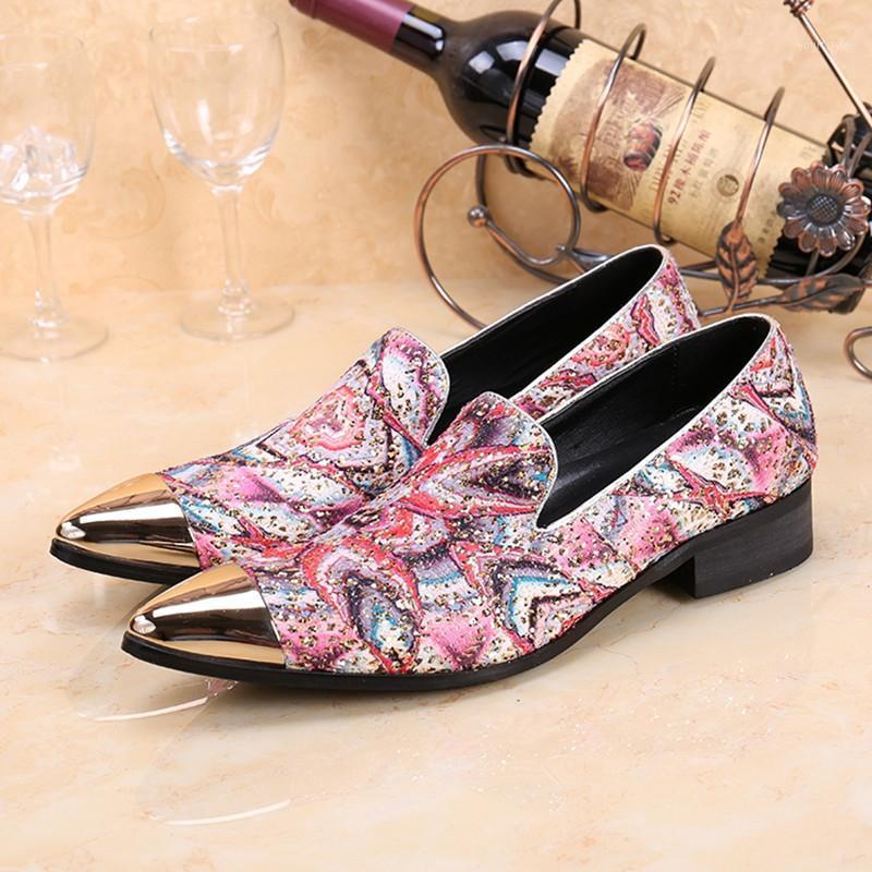 Цветочный элегантный выпускные туфли мужчины кожаные бизнес рабочие мокасины скольжения на вечеринке Свадьба Оксфорд бархатный принт Летняя золотая носок