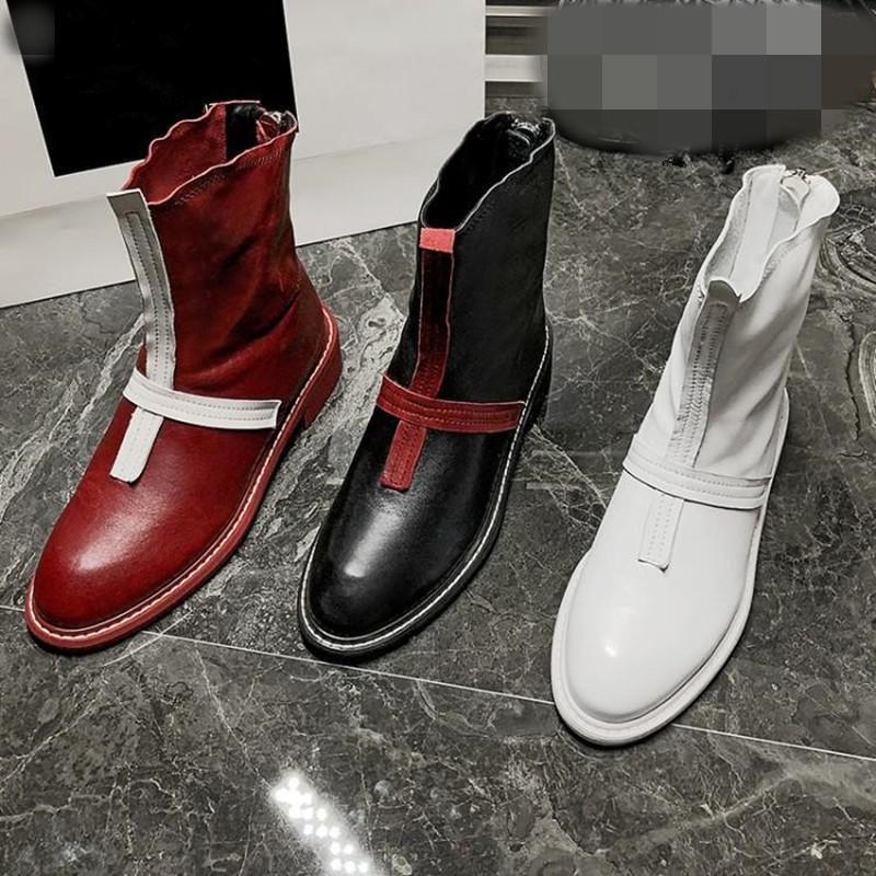 Femmes court Bottes de loisirs bout rond carré épais talon Chaussures pour femmes Rétro arrière Zipper Chaussures confortables Femme Botines Mujer 2020