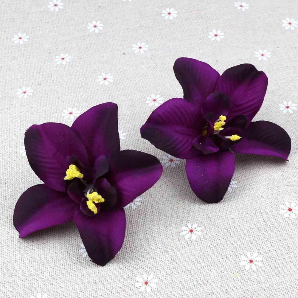 20 adet 8 cm Koyu Mor Yapay Simülasyon Orkide Dekoratif Çiçek Carter Tayland Orkide Ipek Çiçekler Kafa Toplu DIY Düğün Y0104