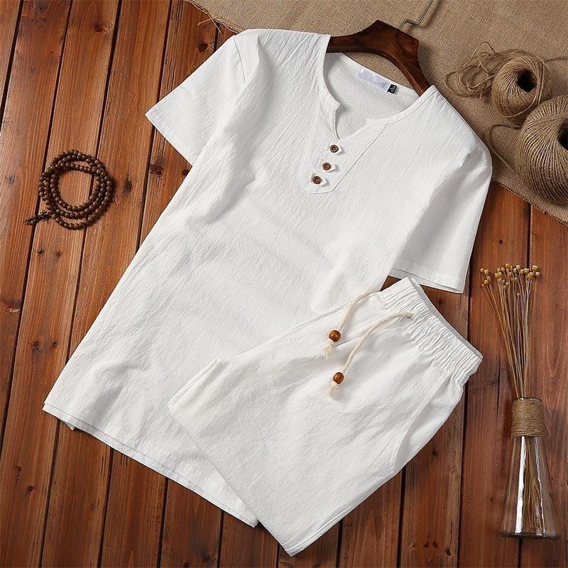 Linge de coton de style chinois Hommes Blanc Chemise Short Set Pullover Bouton Sleeve Shirts Plus 5XL 2020 Hommes d'été
