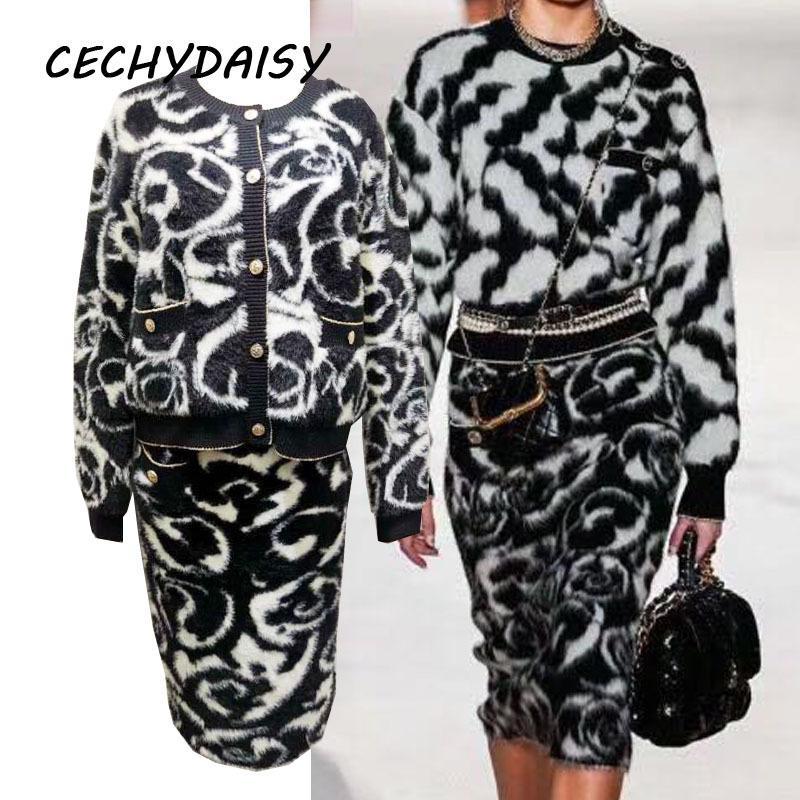Dos suéteres cardigan pieza y cintura alta botón de la ropa de la pista de invierno las mujeres de la falda determinada otoño vendimia elegante vetement A1112 femme