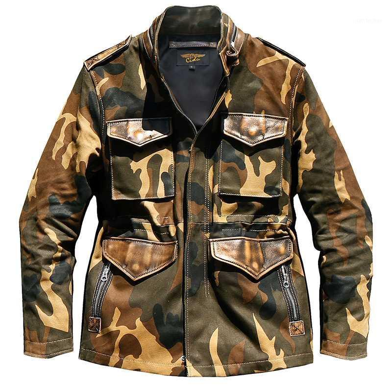 CDM65 ROCK PUEDE ROLLA TAMAÑO DE EEUU Ejército Ejército Super Heavy Cowhide Genuine Cowhide 2Coz Canvas 55% Lana Forro Cera Abrigo Agua Camo M65 Jacket1