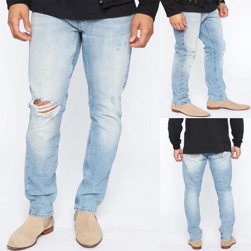 Мужчины рваные джинсы денима колено отверстие прямо вскользь высокого качества европейского и американского хлопка просто новый стиль случайные джинсы