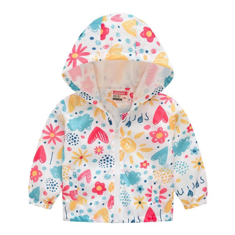 Mode Mädchen Windjacke für Jungen Kleidung Druck Junge Hoodies Jacken Muster Mit Kapuze Mantel Für Mädchen Kinderbekleidung 201117